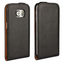 Vertical Flip Plain Genuine Leather Case Cover Holder For Samsung Galaxy Series