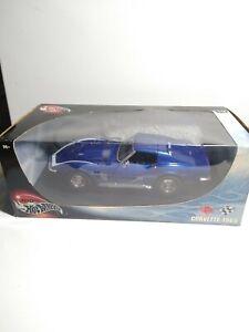 Hot Wheels 100% 1969 Chevy Corvette Coupe 1:18 Scale Diecast Model '69 Car Blue