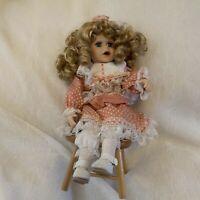 Vintage Porcelain Doll With Wood Chair, Dress, Blonde Ringlets, Blue Eyes 1997