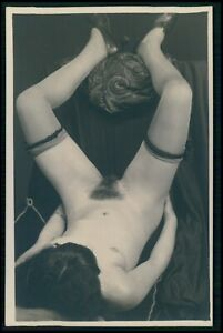 French full nude woman legs up Grundworth original old c1925 photo postcard