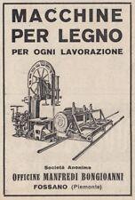 Z3525 Macchine per legno Manfredi Bongioanni - Fossano - Pubblicità - 1929 ad