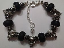 European Style Silver ELEPHANT Bracelet with 5 Silver Charms & 6 Glass Beads