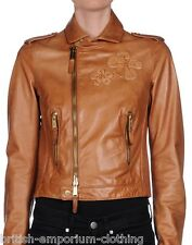 DSQUARED DSQUARED2 Tan Brown Lamb Leather Biker Jacket BNWT UK8-10 ITA42