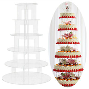 6 tier Clear Acrylic Round Cupcake Stand Wedding Party Cup Cake Stand Display UK