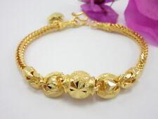 "Lovely Braided Mix Beads 6.75"" Charm Bracelet 22K 24K Gold GP Thai Jewelry GT10"