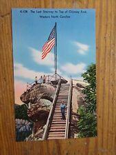 Vintage Postcard The Last Stairway To The Top Of Chimney Rock, N.C.