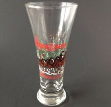 Budweiser Clydesdale Holiday Pilsner Beer Glass Tall Christmas Horse 1989