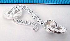 1x BRIGHT STERLING SILVER HAMMER EYE S HOOK CLASP BEAD 37mm #1775