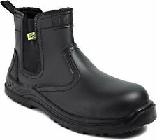 Mens Safety Boots Chelsea Work Shoes Leather Steel Toe Cap ESD S3 - UK 9