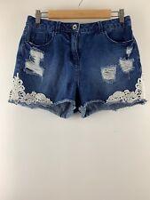 Womens Ladies Trim Cut Denim Shorts Papaya Size 10 Uk * D