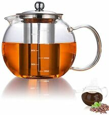 New listing Glass Teapot Has Scale Line with Stainless Steel Infuser (32oz/950ml),Safe Glass