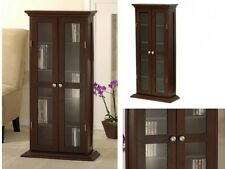 Wood Glass Storage Cabinet Small Utility Home Media Curio Organizer Armoire New