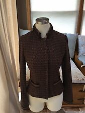 Tahari Brown Snap Down Wool Sweater Blazer Jacket XS Fitted Wool Blend Excellent