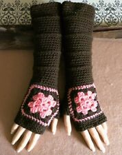 Fingerless Gloves, Brown Granny Square Arm Warmers, Long Crochet Pattern Mitts