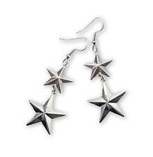 Star Earrings Silver Finish Drop Dangle #996