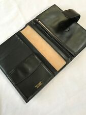 ORGANISER~RARE HERRINGBONE VINTAGE TRAVEL~ DOCUMENT WALLET-BLACK ENGLISH LEATHER
