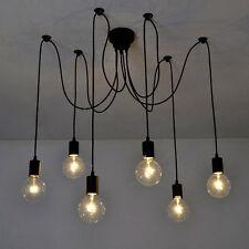 Vintage Edison Industrial Style 6 Heads Chandelier Pendant Lights Ceiling Lamps