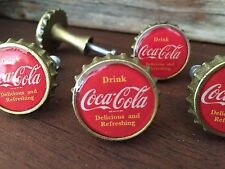 Retro COCA COLA Bottle Cap Drawer Pulls Red - Dresser Brass COKE Knobs