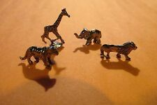 Pewter Elephant Giraffe Lion And Tiger Zoo Figurines