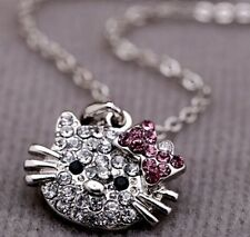 Hello Kitty Cat Pendant Chain Necklace Charm Clear Rhinestone Fashion Jewelry