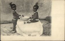 Cute Native African Children Eat From Bowl HAVE SOME? c1905 Postcard
