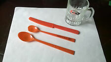 A&W Root Beer Mini Mug +2 A&W Orange Plastic Spoons Stirrers + Orange Knife
