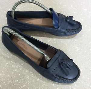 Fat face ladies size 41 blue leather moccasins shoes great condition
