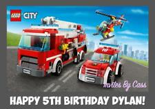 LEGO CITY FIRE TRUCK A4 EDIBLE IMAGE CAKE TOPPER BIRTHDAY PARTY KIDS ADULTS
