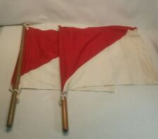 ☆ US ARMY SIGNAL CORPS FLAG KIT 2 RED & WHITE FLAGS ORIGINAL WOOD HANDLES.CANVAS