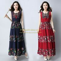 Vogue Womens Ethnic Printed Floral Tassel Long Dress Maxi Sleeveless Dresses Top
