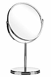 Round Table Mirror  Saving , Make up Mirror on Stand - Chrome