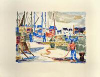 Tom Hops: Hafen [19]67. Signierte Original-Farblithografie.