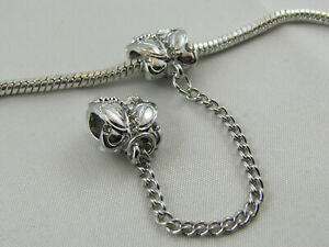 SP BUTTERFLY SAFETY CHAIN 6,0 cm W/CRYSTALS EURO STYLE CHARM BRACELETS #SC-047