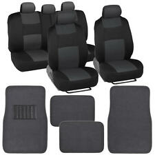 Black & Charcoal Seat Cover Set Complete w/ Solid Charcoal Floor Mat w/ Heel Pad