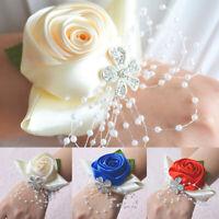 Flower Wrist Corsage Pearl Bead Bracelet Wedding Prom Party Bridesmaid Decor G6A