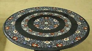 """36"""" Marble Dining Table Top Inlay Rare Semi Round Center Coffee Table AR0885"""