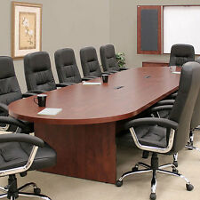 Large Conference Table Cherry Mahogany Or Ash Gray With Power Amp Data Modules