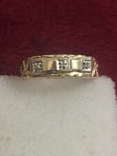 10 Kt Yellow Gold Mens Nugget Style Diamond Band Size 9