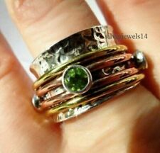Peridot Solid 925 Sterling Silver Spinner Ring Size 9 Handmade Jewelry HO4035