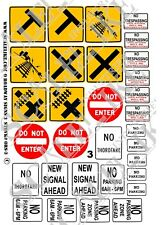 SCALELIKE INDUSTRIES O-ROADWAY SIGNS 3 (ORS-3) PRINTED ON PLASTIC FACTORY NEW