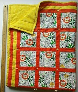 Flannel Baby Quilt Handmade Patchwork Orange Yellow Jungle Animals Large