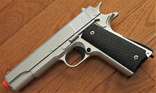 Heavy Metal 1911 Airsoft Spring Pistol Shoot Hard up to 300 FPS  Silver Color