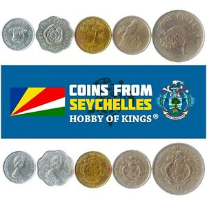5 SEYCHELLOIS COINS DIFFERENT AFRICAN COLLECTIBLE SEYCHELLES FOREIGN CURRENCY