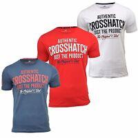 Mens T-Shirt Crosshatch Greendale Crew Neck Short Sleeve Printed Tee Top S-XXL