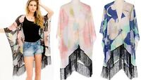 Floral Kimono Cardigan Open Front Flowy Fringe Long Loose Sheer Boho Beach Top