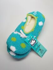 WORLDS SOFTEST Cozy Womens Slippers Turquoise with Dots - Size Small - NEW