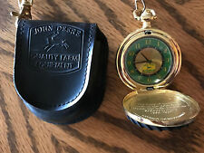 John Deere Pocket Watch In Pouch Never Used Gold Black Green Black Pouch
