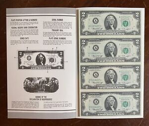 1976 $2 Boston Star Uncut Sheet of 4 Notes