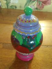 "A Talavera 5 1/2"" Pottery Lidded Jar, Beautiful Glaze, Hand Crafted, Colorful"