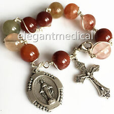 Silver Wire Rutilated Quartz Beads Catholic one DECADE Rosary Bracelet cross Box